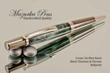 Handmade Creme 'de Mint Resin Ballpoint Pen with Black Titanium and Chrome finish.  Main view of the pen.