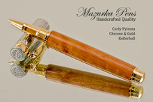 Handmade Rollerball Pen made from Curly Pyinma with Chrome and Gold finish.  Cap view of pen and cap.