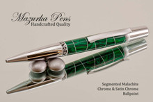 Handmade Ballpoint Pen in Aluminum Banded Malachite, Chrome / Satin Chrome Finish - Side  View