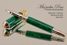 Handmade Rollerball Pen handcrafted from Malachite TruStone with Rhodium and Gold finish.  Side view of pen and cap.