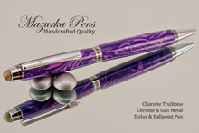 Handmade Stylus / Ballpoint Pen, Charoite TruStone, Chrome and Gunmetal Finish - Looking from top of Ballpoint Pen