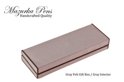 Gray felt pen and / or pencil case with gray interior.  Shown closed.