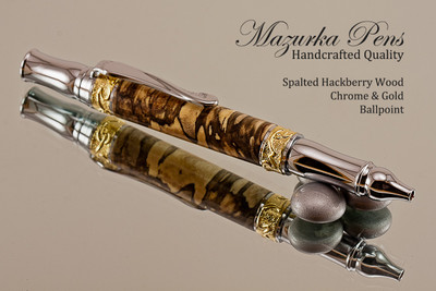 Handmade Ballpoint Pen handcrafted from Spalted Hackberry wood Chrome and Gold finish.