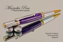Handmade Ballpoint Pen, Charoite TruStone Ballpoint Pen, Gold and Chrome Finish - Looking from top of Ballpoint Pen