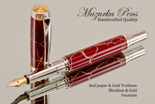 Handmade Fountain Pen handcrafted from Red Jasper & Gold TruStone with Rhodium and Gold finish.  Cap view of pen and cap.