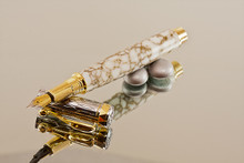 Handmade Fountain Pen made from White and Gold TruStone with Chrome / Gold finish.