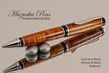 Handmade pen made from Curly Koal with Chrome and Black finish.  Handcrafted pen.  Tip view of pen