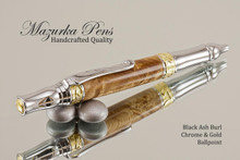 Handmade pen made from Black Ash Burl with Gold and Chrome finish.  Handcrafted pen.  Main view of pen