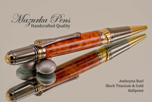 Handmade Ballpoint Pen handcrafted from Amboyna Burl wood Black Titanium and Gold finish.  Main view of pen.