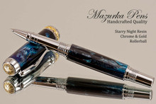 Handmade acrylic pen made from Starry Night swirl poly resin.  Handcrafted Rollerball Pen - made in our shop, no two alike.  Side view of pen body