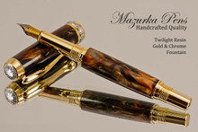 Handmade Fountain Pen handcrafted from Twilight Poly Resin with Gold and Chrome finish.  Main view of pen.