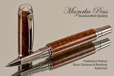 Handmade Rollerball Pen from Fiddleback Walnut, Black Titanium and Platinum Finish.  Main view of pen