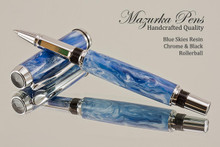 Handmade pen made from Blue Skies Resin.  Handcrafted pen by our artist.  Main view of pen cap.