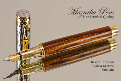Handmade Fountain Pen made from Desert Ironwood with Gold colored finish with Chrome Accents.  Cap view of pen.