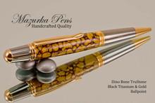 Handmade Dino Bone TruStone Ballpoint Pen, Black Titanium/Gold Finish - Looking from Top of Ballpoint Pen