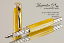 Handmade rollerball pen made from Orange Creme Soda Resin with Rhodium / Gold.  Handcrafted pen by our artist.  Main view of pen cap.
