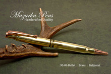 Handmade Double 30-06 Caliber Ballpoint Bullet Cartridge Pen, Brass Finish - Looking from Side of Pen