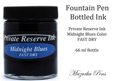 Fountain Pen Ink 66 ml Bottle - Private Reserve Ink,  Midnight Blues Ink Color - FAST DRY