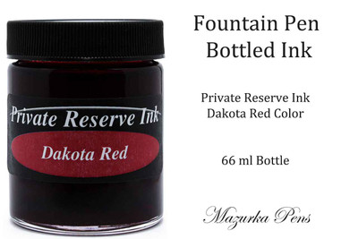 Fountain Pen Ink 66 ml Bottle - Private Reserve Ink,  Dakota Red Ink Color