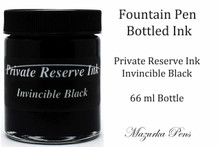 Private Reserve Fountain Pen Liquid Bottled Ink - Invincible Black color, Dries FAST