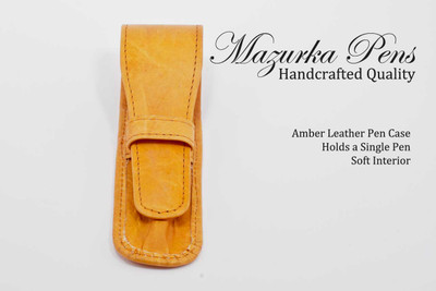 Amber leather pen pouch / pen case.  Shown closed.