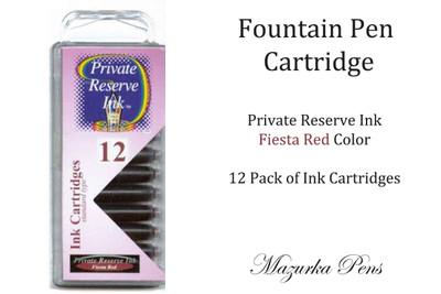 Fiesta Red 12 Pack of Fountain Pen Ink Cartridges