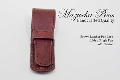 Brown leather pen pouch / pen case.  Shown closed.