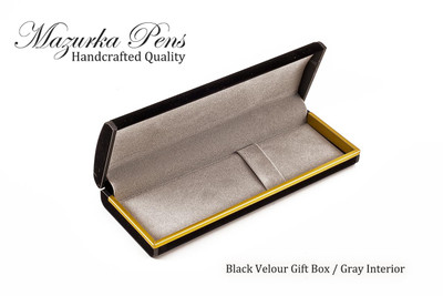 Black felt / velour pen and / or pencil case with gray interior.  Shown open.