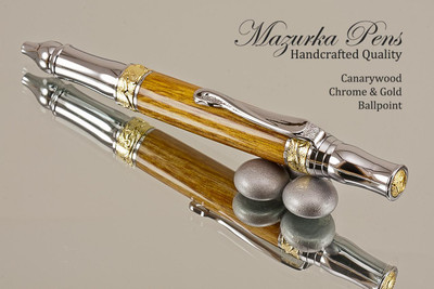 Handmade Sceptre Ballpoint Pen, Canarywood Ballpoint Pen, Gold and Chrome Finish - Looking from top of Ballpoint Pen