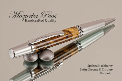 Handmade Ballpoint Pen, Spalted Hackberry , Satin Chrome / Chrome Finish - Top view of Ballpoint Pen