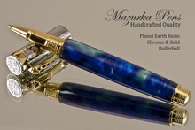 Handmade Rollerball Pen made from Planet Earth Resin with Chrome finish / gold colored accents.  Main view of pen.
