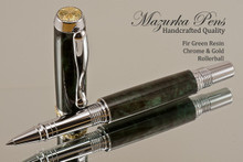 Handmade acrylic pen made from Fir Green poly resin.  Handcrafted Rollerball Pen - made in our shop, no two alike.  Side view of pen body