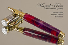 Handmade Rollerball Pen made from Roseus Resin with Chrome finish / gold colored accents.  Main view of pen.