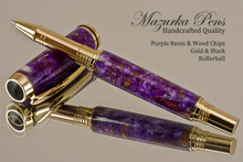 Handmade Rollerball pen made from Purple Wood Chip Resin with Gold color finish / black accents.  Handcrafted pen by our artist.  Top view of pen tip.