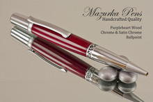 Handmade Ballpoint Pen, Purpleheart Pen, Chrome / Satin Chrome Finish - Looking from tip of Ballpoint Pen