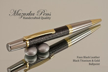 Handmade pen made from Black Faux Leather with Black Titanium / Gold finish.  Handcrafted pen.  Main view of pen
