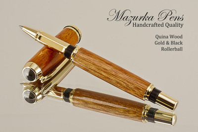 Hand Made Rollerball Pen made from Quina wood with Gold and Black finish.  Bottom view of pen and cap.