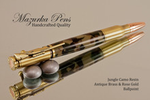 Handcrafted Bolt Action Ballpoint Pen, .30 Caliber Bolt Action Bullet Pen, Jungle Woodland Camo / Antique Brass Finish