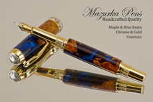 Handmade Blue Resin / Big Leaf Maple Burl Fountain Pen with Black Titanium / Gold trim.  Main view of pen.