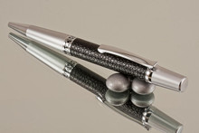 Handcrafted Ballpoint Pen Black Faux Leather Chrome/Satin Chrome