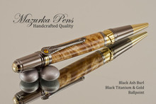 Handmade Ballpoint Pen, Black Ash Burl, Black Titanium and Gold Finish - Looking from Top of Ballpoint Pen