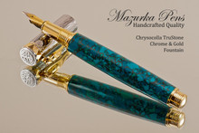 Hand Made Rollerball Pen, made from Chrysocolla TruStone with Gold and Chrome finish.