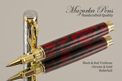 Hand Made Rollerball Pen, made from Black and Red TruStone with Gold and Chrome finish.  Main view of pen and cap.