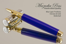 Hand Made Rollerball Pen, made from Blue Lapis TruStone with Gold and Chrome finish.  Main view of pen and cap.
