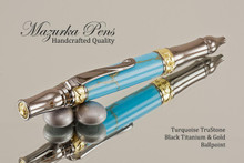 Handmade Sceptre Ballpoint Pen, Turquoise and Gold TruStone Ballpoint Pen, Black Titanium / Gold Finish - Looking from top of Ballpoint Pen