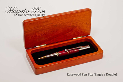 Premium rosewood display case with brass hinges, single pen insert (pens not included, shown open with single insert)
