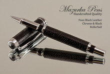 Handmade rollerball pen made from Faux Leather with Chrome / Black finish.  Handcrafted pen.  Main view of pen  - Stock Picture