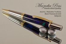 Handcrafted pen made from Azurite/Malachite TruStone with Black Titanium & Gold finish.  Back view of pen