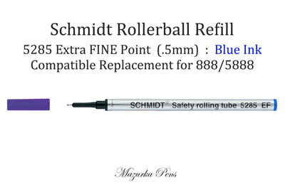 Schmidt 5285 EF Rollerball Refill - Fine Tip (.5mm), Blue Ink, fits most rollerball pens