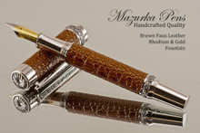 Handmade Fountain pen made from Brown Faux Leather with Rhodium / Gold finish.   Main view of pen